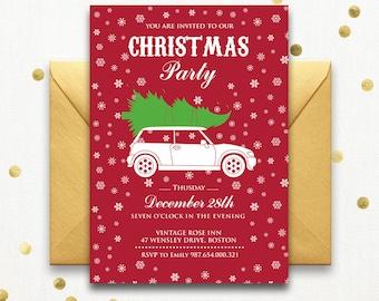 Printable Holiday party invitations - Christmas Party Invitation Instant Download - DIY Christmas Card Christmas Holiday Party, Holiday Card