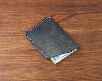 Leather Card Wallet – pull-up vegetable tanned leather (Charcoal) - handcrafted by DHK GOODS