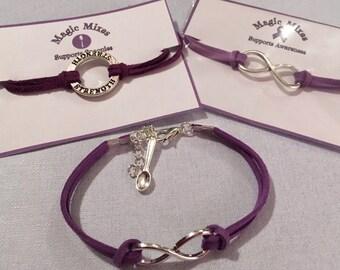 Purple Awareness Bracelet, Fibromyalgia Awareness, Chron's Awareness, Ulcerative Colitis, Cystic Fibrosis, Lupus Awareness, Spoonies,