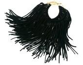 Black Fringe Hoops