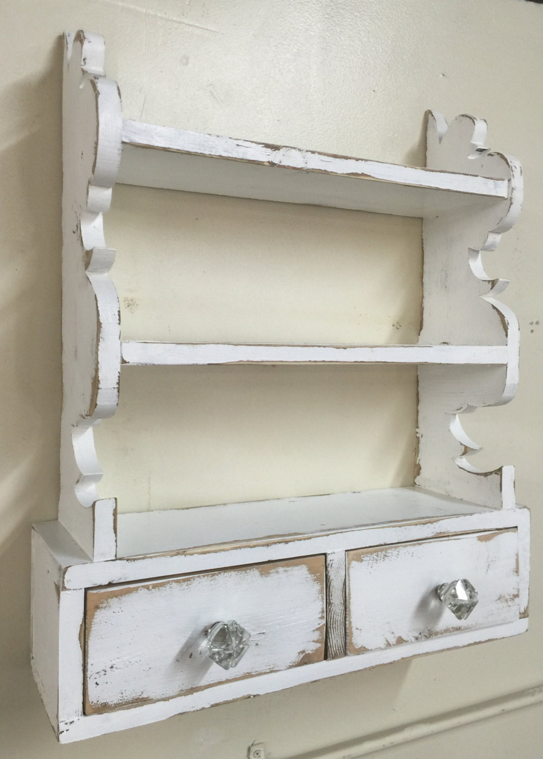 French country wall shelf cottage chic wall shelf kitchen - Salle de bain style shabby ...