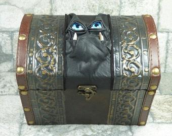 Pencil Box Treasure Chest Desk Organizer Trinket Storage Stash Brown Black Leather Harry Potter Labyrinth