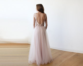 Pink sequins open back maxi tulle dress, Backless tulle and sequins gown