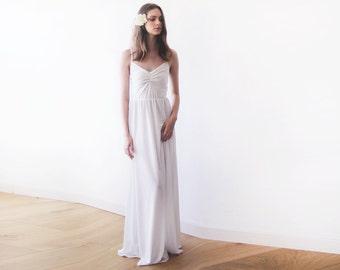 Ivory maxi ballerina gown, Sweetheart neckline wedding dress, Minimal wedding dress 1064