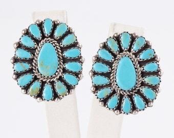 Turquoise Earrings - Vintage Navajo Sterling Silver Turquoise Earrings