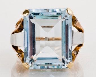 Vintage Ring - Vintage Retro 1940's Tri-Gold 20+ Carat Aquamarine Ring