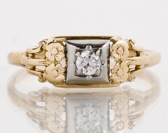 Vintage Ring - Vintage 1940's 14k Yellow Gold Diamond Promise Ring
