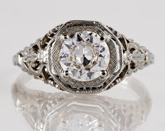 Antique Engagement Ring - Antique 1920's 18k White Gold Diamond Engagement Ring