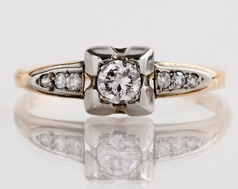 Vintage Engagement Ring - Vintage 1940s 14k White & Yellow Gold Diamond Engagement Ring