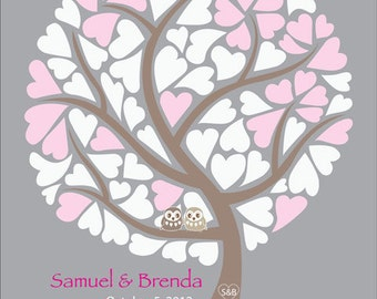 Wedding Guest Book Tree Alternative Poster, Love Birds, Personalized Guestbook, Love Birds, 16x20 in, 85 Signatures, Free Gift with Purchase