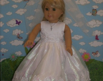 First Communion Dress for 18 inch Doll with Cross Necklace