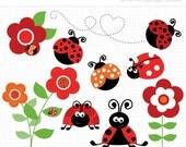 ON SALE - Ladybug Garden (Red) Clip Art / Digital Clipart - Instant Download