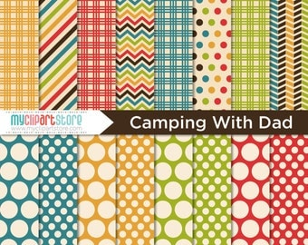 Digital Paper - Camping with Dad / Father's Day / Outdoors - Instant Download