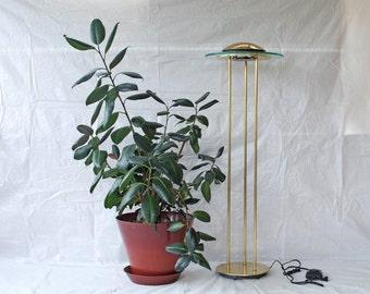 Brass and Glass Robert Sonneman Halogen Bulb Floor Lamp