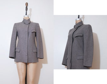Vintage Basile 80s blazer | 1980s Khaki blazer wool jacket