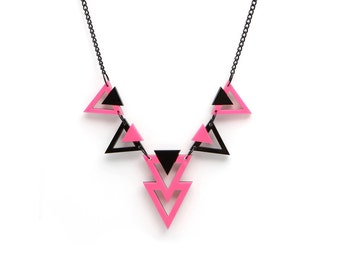 Geometric 80's Style Statement Necklace, Triangle Necklace, Black and Neon Pink Color