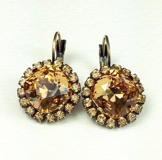 Swarovski Crystal 12MM Cushion Cut, Lever- Back Drop Earrings With Halo - Gorgeous  Earrings - Lt. Colorado Topaz   SALE 35. - FREE SHIPPING