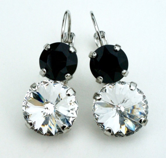 Swarovski Crystal 12MM/8.5mm Drop Earrings - Jet & Clear Crystal - OR Choose Custom Colors - Classic Drama  - FREE SHIPPING