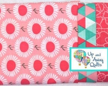 Pillowcase Kit - Pink & Teal Cottage Garden  Asters, Flowers, Geometric