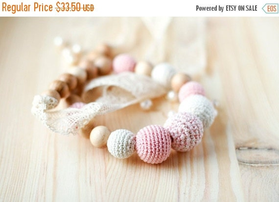 SALE Crochet organic cotton teething romantic Nursing necklace with vintage lace pale pink and Ecru Mothers day gift for her under 50