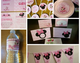 Minnie Mouse baby shower package: banner, plates, cups, signs, cupcake toppers and food tents