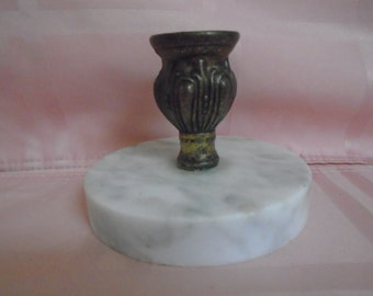 Vintage Marble Base / Brass top Candle Holder / Beautiful