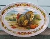 Vintage Thanksgiving Turkey Melamine Serving Platter Tray