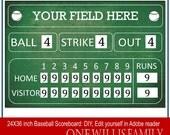 DIY Baseball Scoreboard: Baseball birthday party decoration scoreboard 24x36, Green or Black, DIY Editable in adobe reader