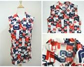 "vtg 70s PYKETTES sleeveless top L Red White Blue shirt Mod print 40"" bust"