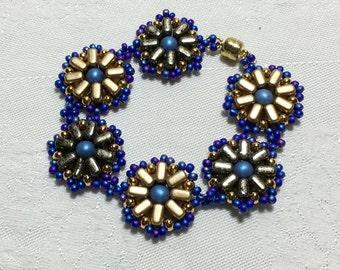 Circle Bead Bracelet Bead Woven Bracelet Flower Bead Bracelet Blue Gold Bracelet Hand Beaded Bracelet Beadwork Bracelet Seed Bead Bracelet