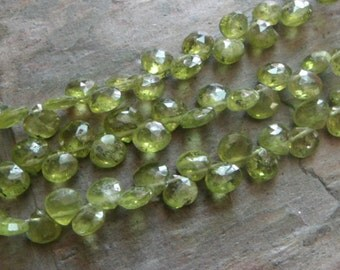 9 Inch Strand of 5x5mm Green Vaisonitee Faceted Briolettes