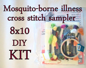 Cross Stitch KIT -- Mosquito-borne illnesses Microbes Sampler 8x10 -- West Nile virus, malaria, for scientists, epidemiologists, tick-haters