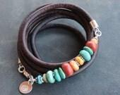 Turquoise Coral Artisan Bracelet- beaded spiny oyster beads boho leather wrap turquoise bracelet, Sundance style jewelry, Santa Fe colors
