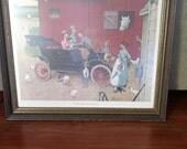 Framed 24 x 24 Norman Rockwell Model T Print