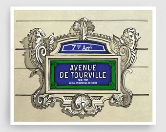 Paris illustration - Avenue de Tourville - Illustration Giclee Fine Art Print Paris Prints Posters Blue Home Decor Architectural Drawing