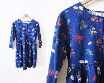 90s Dress / Grunge Floral Dress / Blue / Long Sleeve Mini Dress