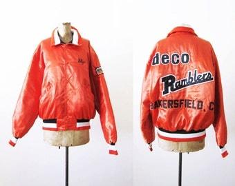 Satin Bomber Jacket / Satin Jacket / Vintage Bomber Jacket / Coach Jacket / Orange Jacket / Baseball Jacket / California Jacket