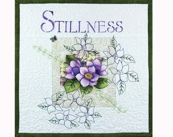 "Inspirational Word Quilt, Mini Quilted Wall Hanging, ""Stillness"""