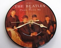 "Original BEATLES Vinyl Record CLOCK made from recycled 7"" picture Disc Please Please Me, warm autumn colours, unique gift, for Beatles fans"