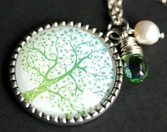 Winter Thaw Tree Necklace. Silver Tree Pendant. Aqua Blue and Pale Green Handmade Necklace with Glass Teardrop and Fresh Water Pearl.