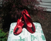 """Reserved for Janet,40""""s, 50's Daniel Green ruby red satin slippers, 3 1/2"""" wedge heel, bright red, size 8, great condition"""