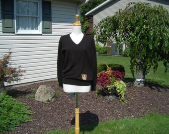 70's Gucci sweater, Made in Scotland, 100% Cashmere, brown long sleeve with bulldog face,  size med., great condition
