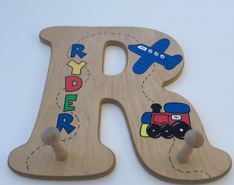 Wooden Alphabet Letter Clothes Hanger