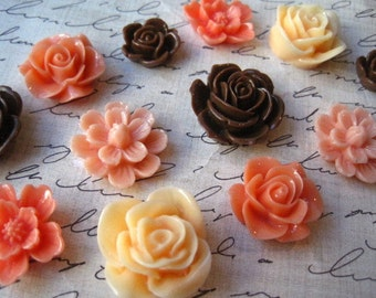Resin Flowers, 12 Cabochon Flowers, Coral, Chocolate Brown, Peach Resin Roses, Flat Back Flowers, Perfect for Bobby Pins, Rings, Earrings