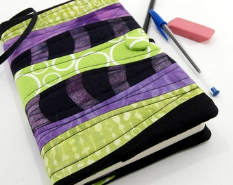 Journal Cover, Refillable 5 x 8 Journal, Reusable Diary - Black, Purple, and Green 5 x 8 Writing Journal, Quilted Moleskine Cover