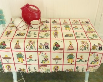 Vintage Cotton Tablecloth, Primary Colors with Southwestern, Mexican Motifs, Plaid