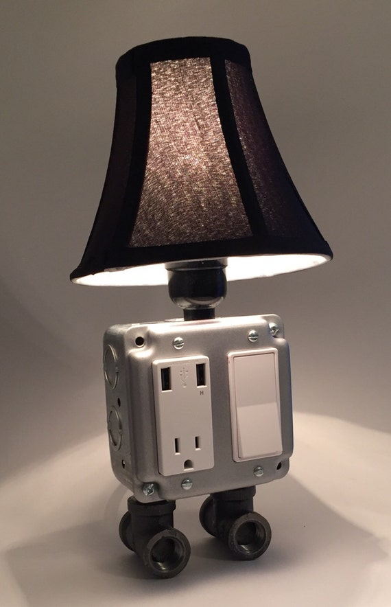 Silver Industrial Lamp Usb Charging Station Lighting