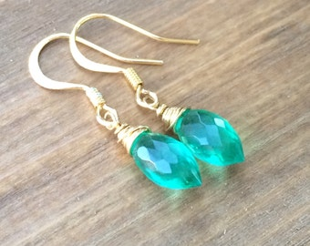 Green Quartz Earrings, Gold Gemstone Earrings, Emerald Green