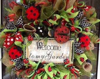 Ladybug mesh  Wreath, summer wreath, door wreath, ladybug wreath