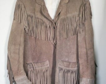 vintage womens western style fringed jacket by vakko new york distressed and worn